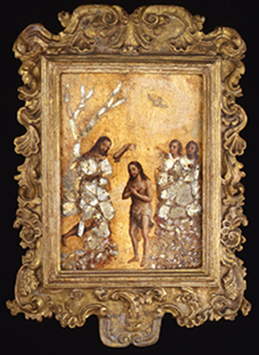 Unknown Artist. Baptism of Christ, Mexico, 1680-1750. Oil and mother-of-pearl on panel