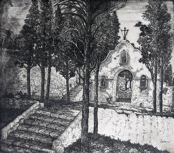 Manuel Castro Gil, Calvario of Sagunto, etching, n.d.