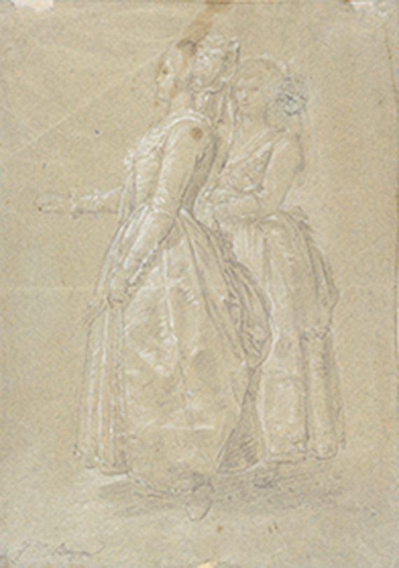 Francisco Bayeu y Subías, Sketch for the tapestry cartoon, The Promenade. 1780-1795. Black chalk and white heightening on blue paper