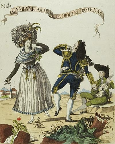 Marcos Téllez Villar, N. 4 Campanelas de las Seguidillas Boleras, etching, ca. 1790