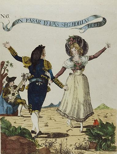 Marcos Téllez Villar, N. 6 Un pasar de las Seguidillas Boleras, etching, ca. 1790