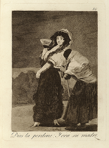 "Francisco de Goya, ""Dios la perdone. Y era su madre"" [God forgive her and it was her mother], Plate 16 from Los Caprichos, etching, 1797–99."