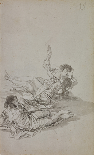 Francisco de Goya, Majas fighting majo observing (recto), 1796-1797. Black ink and gray wash on laid paper