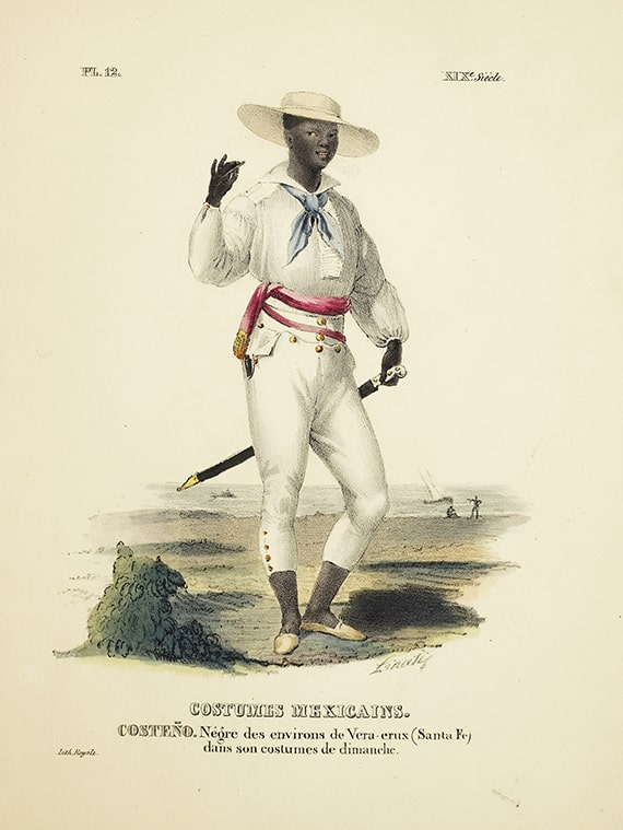 "Claudio Linati, ""Costeño [Man from the coast],"" colored lithograph from Costumes civils, militaires, et réligieux de Mexique de d'apres nature, Brussels, 1828."