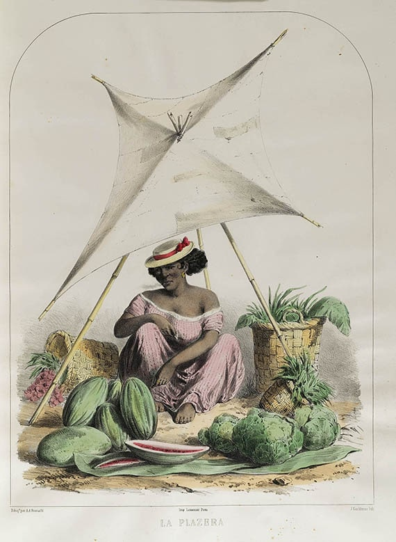 "A.A. Bonnaffé, ""La plazera [Market woman in the plaza],"" colored lithograph from Recuerdos de Lima Album Tipos, Trajes y Costumbres, [Lima?], 1857."