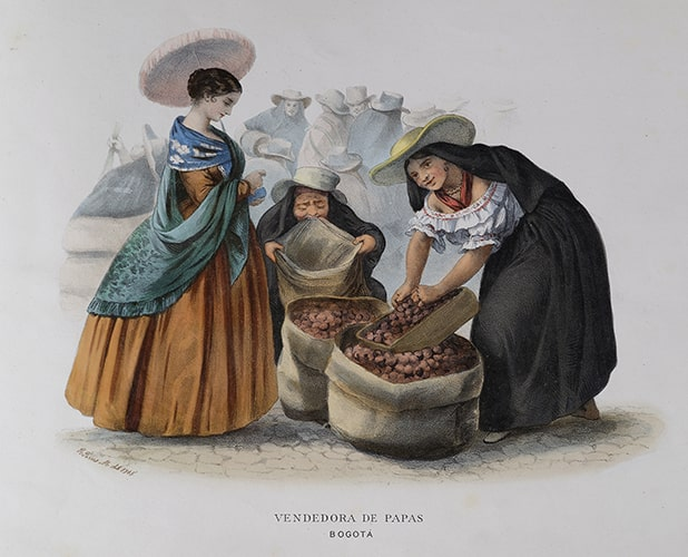 "Ramón Torres Méndez, ""Vendedora de papas"" [Potato seller], colored lithograph from Recuerdos de Colombia [Costumbres neo-granadinos], Paris, ca 1860."