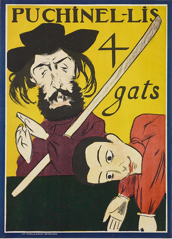 Ramon Casas i Carbó, Puchinells 4 Gats, color lithographic poster, 1898