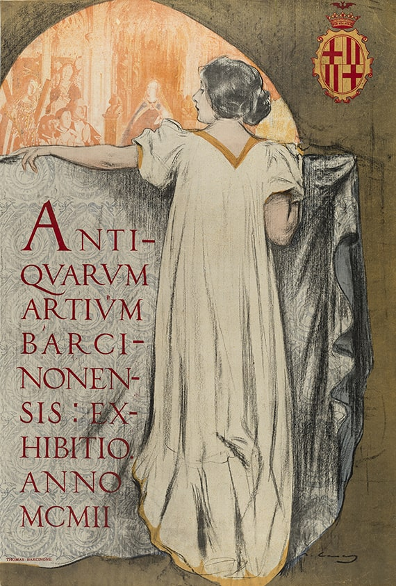 Ramon Casas i Carbó, Antiquarum Artium Barcinonensis: Exhibitio Anno MCMII [Ancient Art of Barcelona: Exhibition of 1902], color lithographic poster, 1902