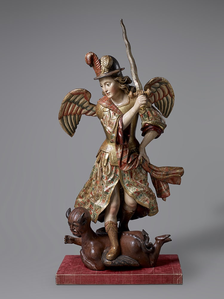 Saint Michael Archangel, 1700-1750. Wood, polychrome