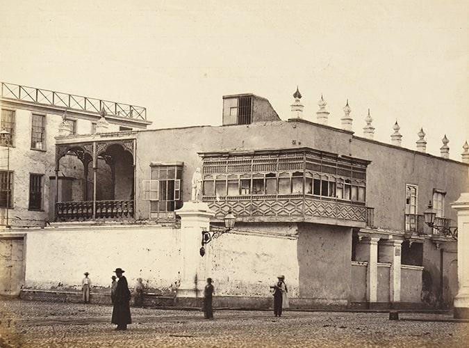 """Eugène Courret, """"La Maison de la Perichola"""" [The house of the Perichole], albumen print in Souvenir de Lima, 1869-72."""