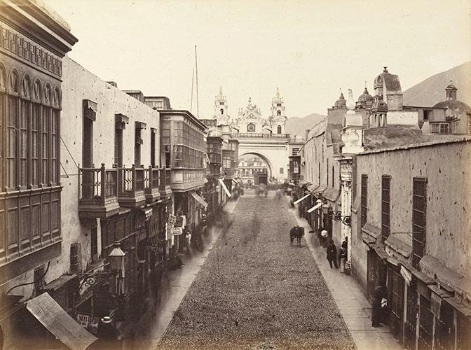 "Eugène Courret, ""La Rue del Palacio"" [The street of the Palace], albumen print in Souvenir de Lima, 1869-72."
