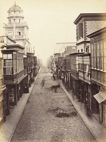 "Eugène Courret, ""La Rue de las Mantas"" [The street of the blankets], albumen print in Souvenir de Lima, 1869-72."