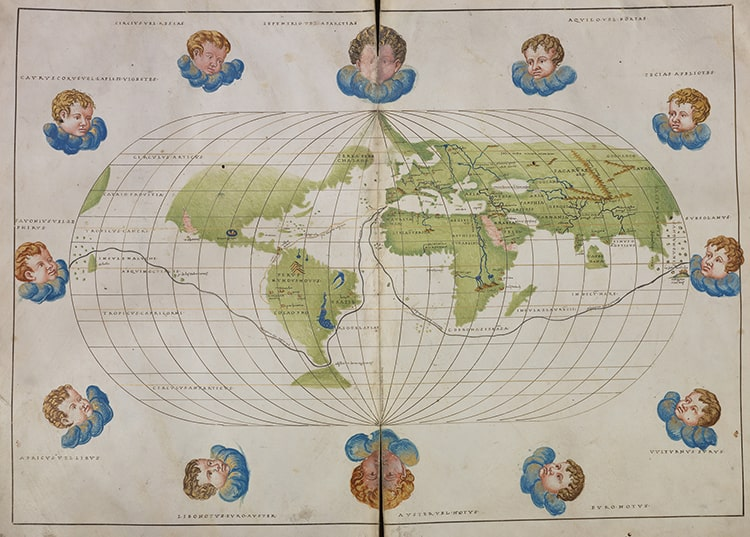 Battista Agnese, World Atlas, ca. 1550. Illuminated manuscript charts on parchment