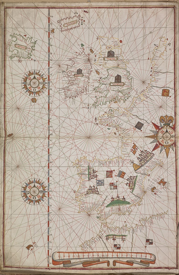 Joan Martinez, Atlas of the Mediterranean Sea and Eastern Atlantic, 1582. 5 illuminated manuscript charts on parchment