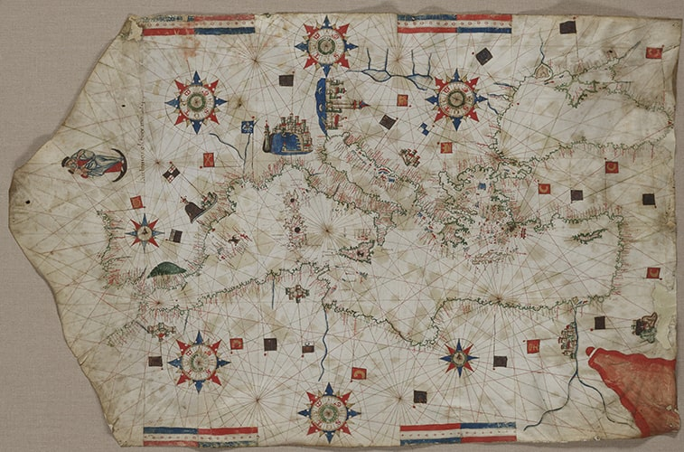 Portolan chart of the Mediterranean, Black Sea, and Atlantic (Finisterre to Cape Nun),1552. Ink and color on parchment