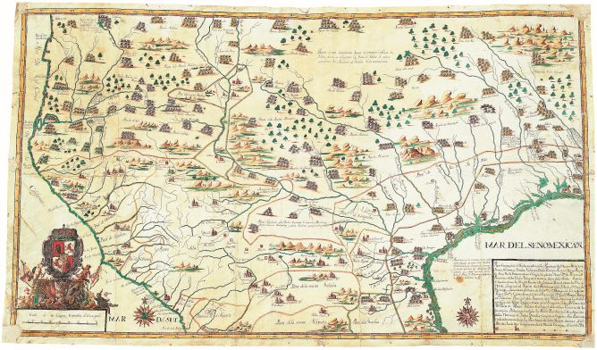 Image 6. Francisco Álvarez Barreiro,  Manuscript map of the North American southwest, 1728
