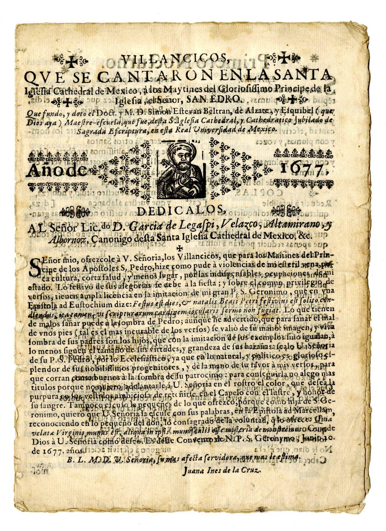Image 5. Sor Juana Inés de la Cruz, villancicos (short religious songs) written in 1677 .